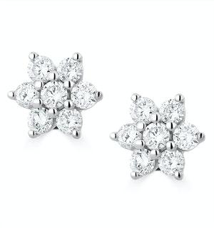 0.50ct Lab Diamond Flower Cluster Earrings in 9K White Gold