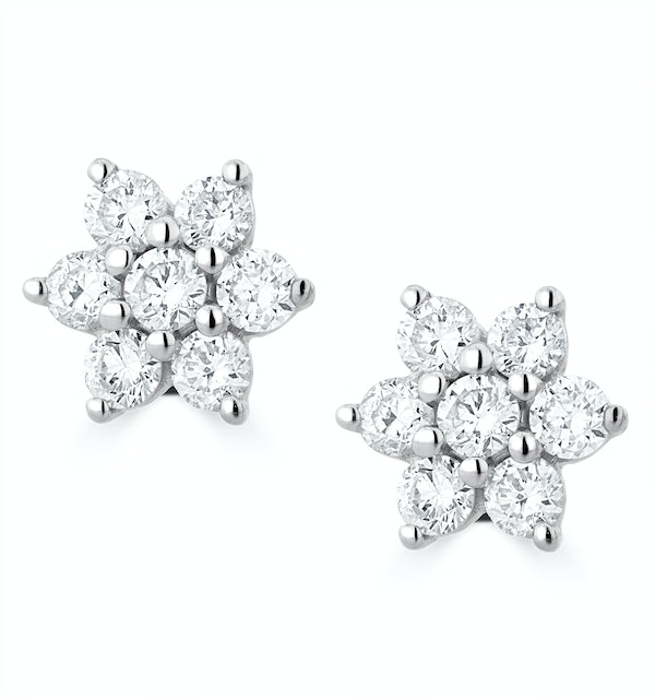 0.50ct Lab Diamond Flower Cluster Earrings in 9K White Gold - image 1
