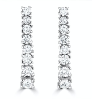 1ct Lab Diamond Life Journey Drop Earrings Set in 9K White Gold