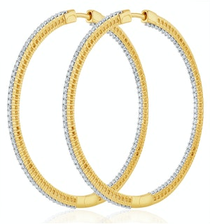 2.00ct Lab Diamond Hoop Earrings H/Si Quality in 9K Gold - 51mm