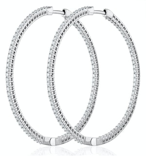 2.00ct Lab Diamond Hoop Earrings H/Si Quality in 9K White Gold - 51mm