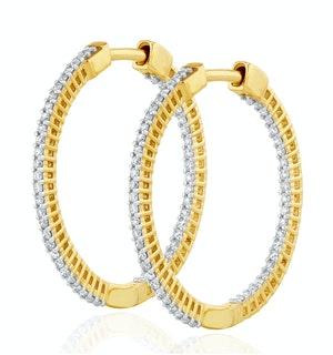 2.00ct Lab Diamond Hoop Earrings H/Si Quality in 9K Gold - 40mm
