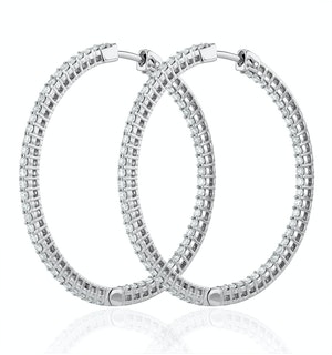 2.00ct Lab Diamond Hoop Earrings H/Si Quality in 9K White Gold - 40mm