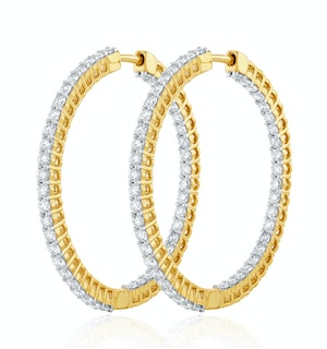 1.00ct Lab Diamond Hoop Earrings H/Si Quality in 9K Gold - 30mm