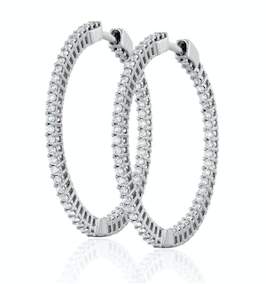 1.00ct Lab Diamond Hoop Earrings H/Si Quality in 9K White Gold - 30mm