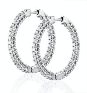 2.00ct Lab Diamond Hoop Earrings H/Si Quality in 9K White Gold - 32mm