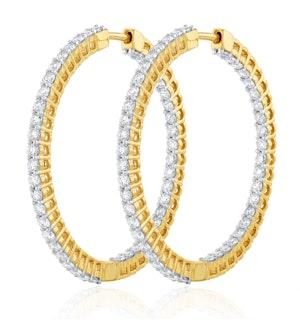4.00ct Lab Diamond Hoop Earrings H/Si Quality in 9K Gold - 42mm