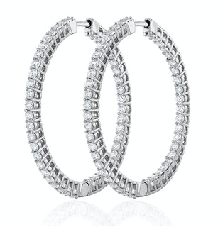 4.00ct Lab Diamond Hoop Earrings H/Si Quality in 9K White Gold - 42mm