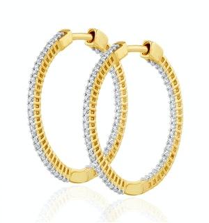 0.50ct Lab Diamond Hoop Earrings H/Si Quality in 9K Gold - 26mm