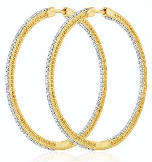 1.50ct Lab Diamond Hoop Earrings H/Si Quality in 9K Gold - 52mm