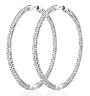 1.50ct Lab Diamond Hoop Earrings H/Si Quality in 9K White Gold - 52mm