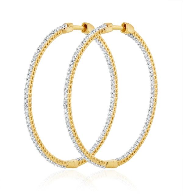 1.00ct Lab Diamond Hoop Earrings H/Si Quality in 9K Gold - 40mm - image 1
