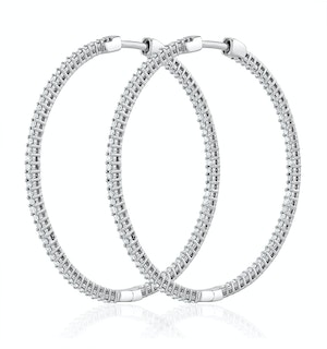 1.00ct Lab Diamond Hoop Earrings H/Si Quality in 9K White Gold - 40mm