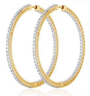 4.00ct Lab Diamond Hoop Earrings H/Si Quality in 9K Gold - 52mm