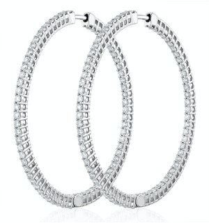 4.00ct Lab Diamond Hoop Earrings H/Si Quality in 9K White Gold - 52mm