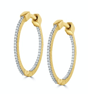 0.25ct Lab Diamond Hoop Earrings H/Si Quality in 9K Gold - 21mm