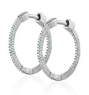 0.25ct Lab Diamond Hoop Earrings H/Si Quality in 9K White Gold - 21mm