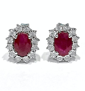 Ruby Earrings with Lab Diamonds in 925 Silver - 6 x 4mm Centre