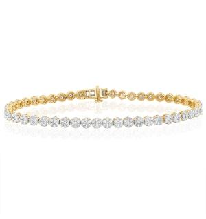 3ct Cluster Lab Diamond Tennis Bracelet H/Si Set in 9K Yellow Gold