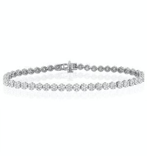 3ct Cluster Lab Diamond Tennis Bracelet H/Si Set in 9K White Gold
