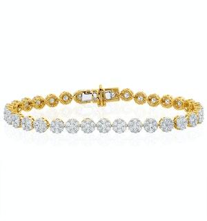 5ct Cluster Lab Diamond Tennis Bracelet H/Si Set in 18K Yellow Gold