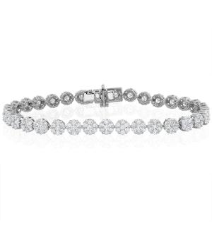 5ct Cluster Lab Diamond Tennis Bracelet H/Si Set in 18K White Gold