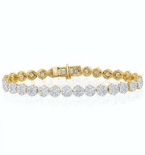 7ct Cluster Lab Diamond Tennis Bracelet H/Si Set in 18K Yellow Gold