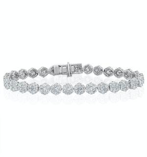 7ct Cluster Lab Diamond Tennis Bracelet H/Si Set in 18K White Gold