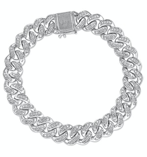 1.20CT Mens Lab Diamond Cuban Link Bracelet in Sterling Silver