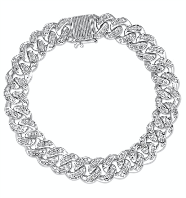 1.20CT Mens Lab Diamond Cuban Link Bracelet in Sterling Silver - image 1