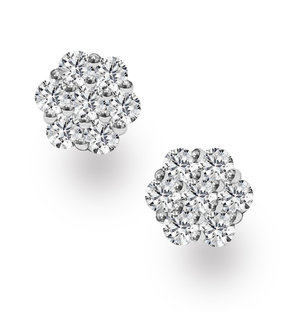 Lab Diamond Cluster Earrings 0.50ct H/SI Quality set in 9K White Gold - image 1