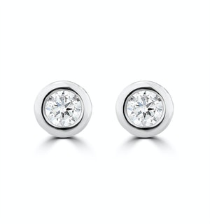 0.10ct Lab Diamond Rub Over Stud Earrings in 9K White Gold - 4mm