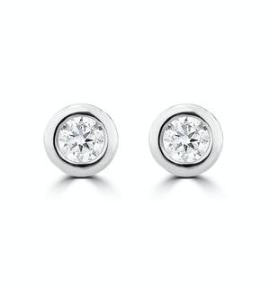 0.10ct Lab Diamond Rub Over Stud Earrings in 9K White Gold - 4mm