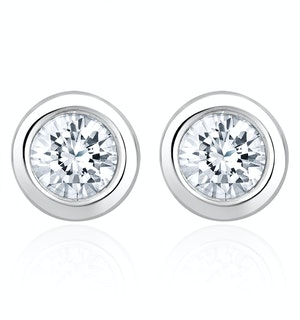 1.00ct Lab Diamond Rub Over Stud Earrings in 9K White Gold - 7.8mm