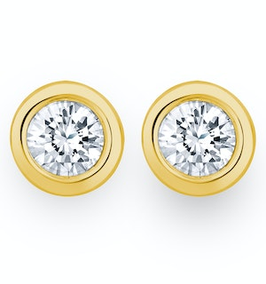 1.00ct Lab Diamond Rub Over Stud Earrings in 9K Gold - 7.8mm