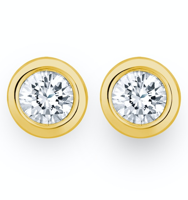 1.00ct Lab Diamond Rub Over Stud Earrings in 9K Gold - 7.8mm - image 1