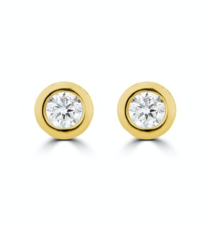 0.10ct Lab Diamond Rub Over Stud Earrings in 9K Gold - 4mm