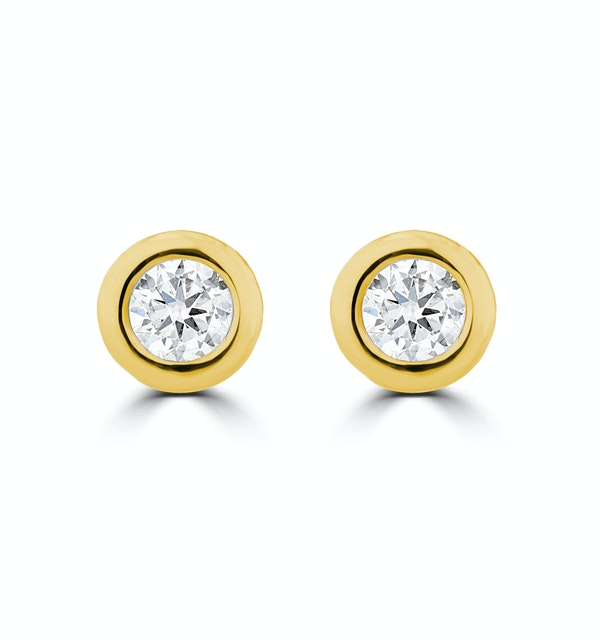 0.10ct Lab Diamond Rub Over Stud Earrings in 9K Gold - 4mm - image 1