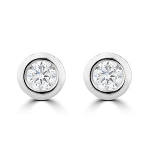 0.20ct Lab Diamond Rub Over Stud Earrings in 9K White Gold - 4.6mm