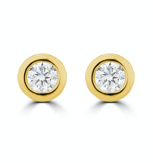 0.20ct Lab Diamond Rub Over Stud Earrings in 9K Gold - 4.6mm