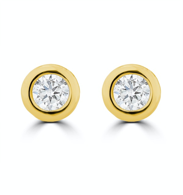 0.20ct Lab Diamond Rub Over Stud Earrings in 9K Gold - 4.6mm - image 1