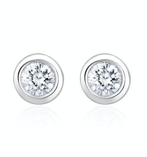 0.30ct Lab Diamond Rub Over Stud Earrings in 9K White Gold - 5.2mm