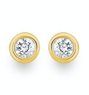 0.30ct Lab Diamond Rub Over Stud Earrings in 9K Gold - 5.2mm