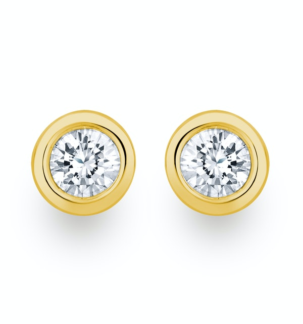 0.30ct Lab Diamond Rub Over Stud Earrings in 9K Gold - 5.2mm - image 1