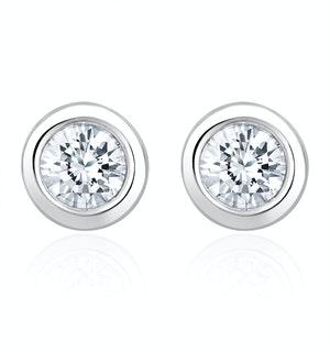 0.50ct Lab Diamond Rub Over Stud Earrings in 9K White Gold - 5.6mm
