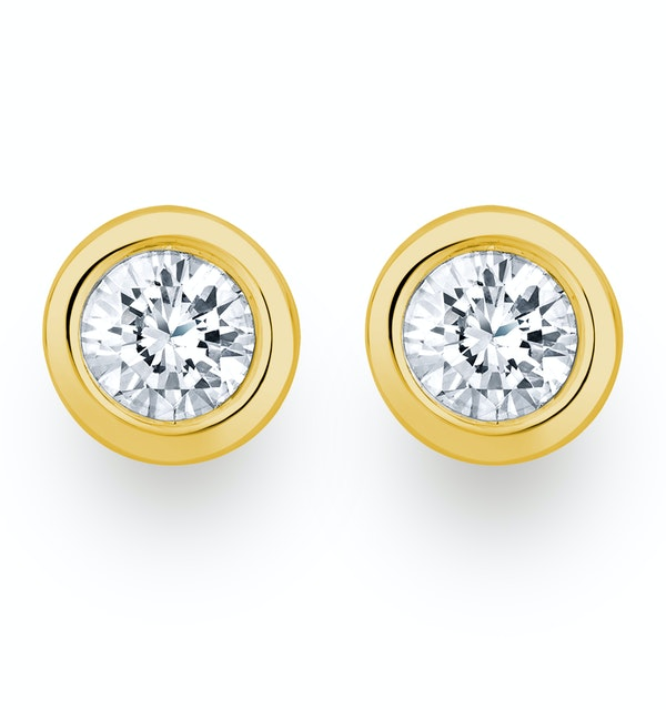 0.50ct Lab Diamond Rub Over Stud Earrings in 9K Gold - 5.6mm - image 1