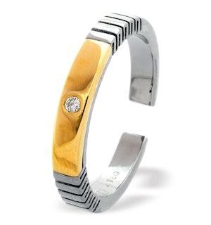 18K Gold Single Stone Titanium Ring