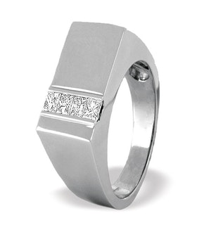 Princess Cut Diamond 0.50ct 18K White Gold Gents Ring - RTC-O3254