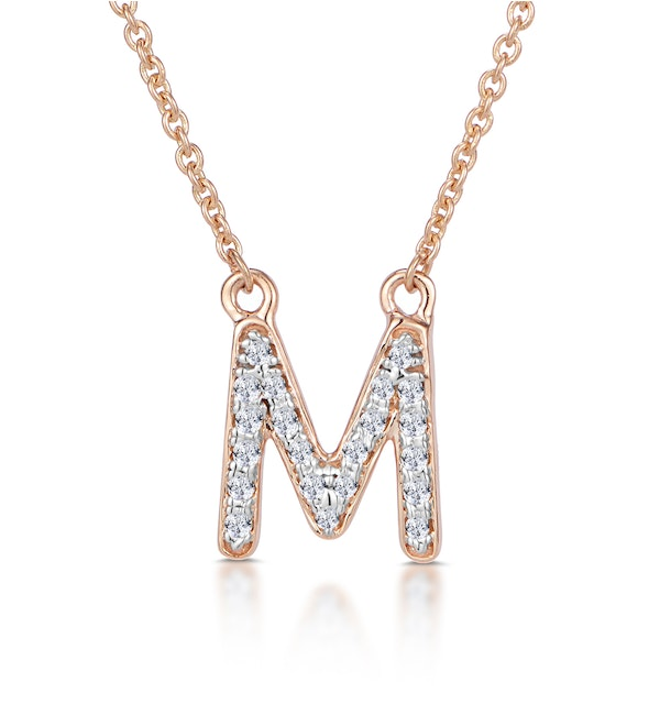Initial 'M' Necklace Diamond Encrusted Pave Set in 9K Rose Gold - image 1