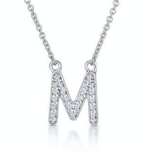 Initial 'M' Necklace Diamond Encrusted Pave Set in 9K White Gold